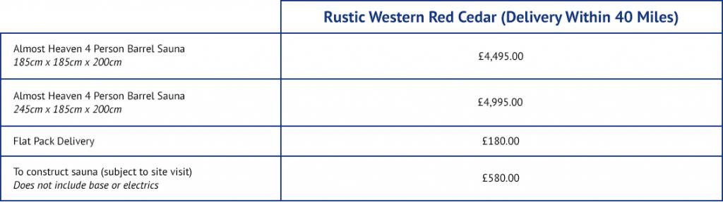 Rustic Western Red Ceder outdoor sauna price list.