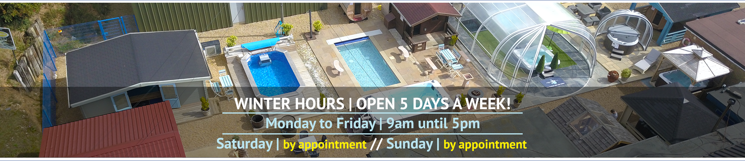 Front page slider graphic for the Wensum Pools Ltd Winter 2020 opening hours.