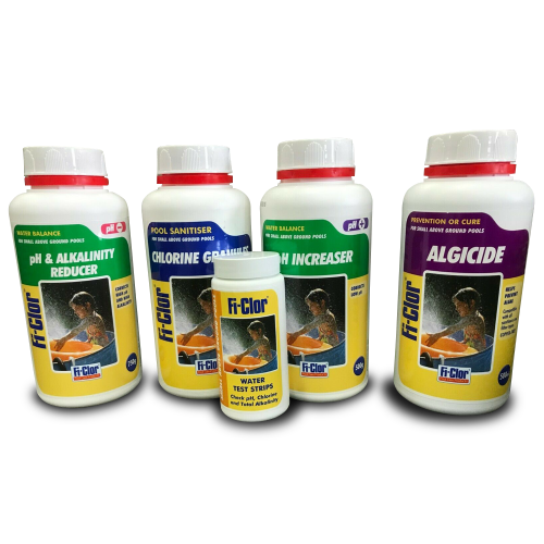 Chemical Starter Kit including Chlorine Test Strips for Small Pools Fi-Clor