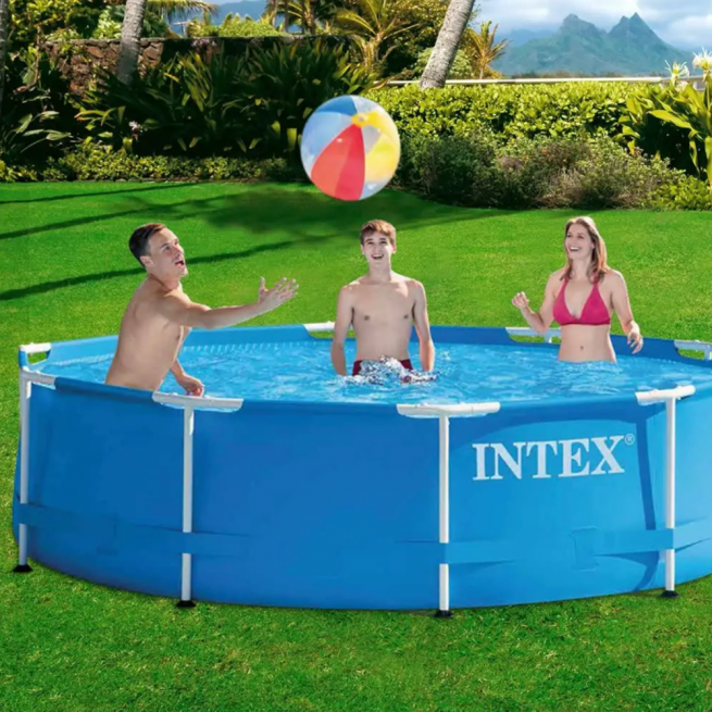 Family playing in an Intex 10ft x 3ft swimming pool